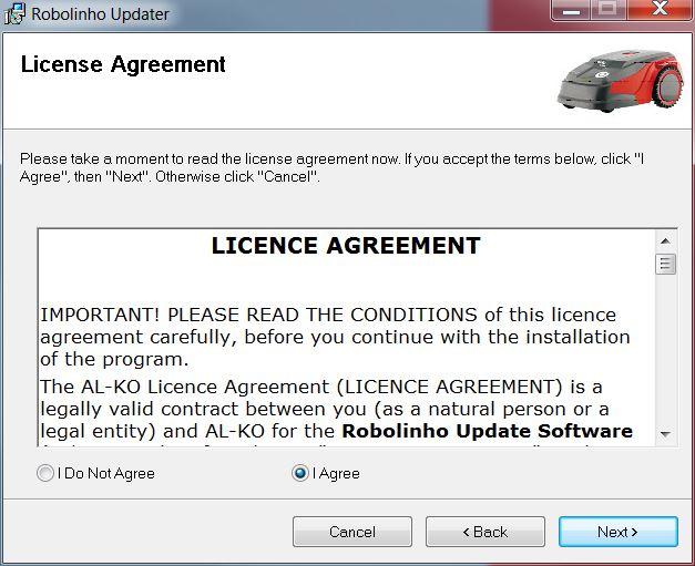 Mähroboter   AL-KO Robolinho® Autoupdater - Schritt 2: Lizenzvertrag bestätigen